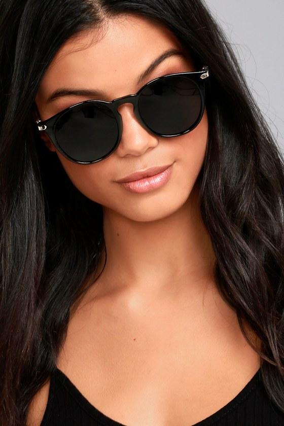 Cute Black Sunglasses - Black Round Sunglasses - Trendy ...