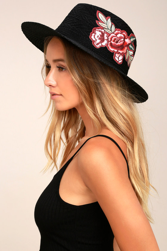 Cute Black Sunhat - Fedora Hat - Embroidered Hat - Straw Hat 9e6bd62886d4