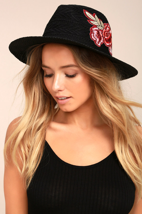 512a188d84e79 Cute Black Sunhat - Fedora Hat - Embroidered Hat - Straw Hat