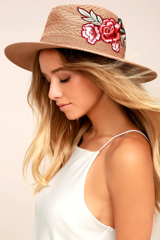 03cc9727490d4 Cute Brown Sunhat - Fedora Hat - Embroidered Hat - Straw Hat