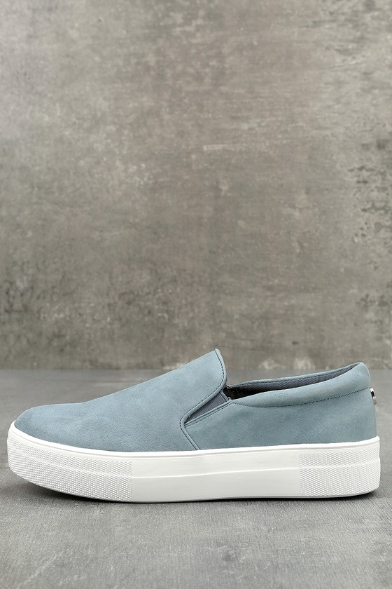 Steve Madden Gills Light Blue Suede Leather Slip-On Sneakers 1