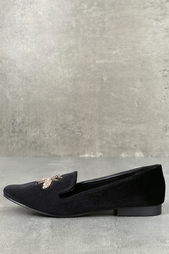 e9a19c05578 Cute Black Loafers - Bee Loafers - Black Velvet Loafers