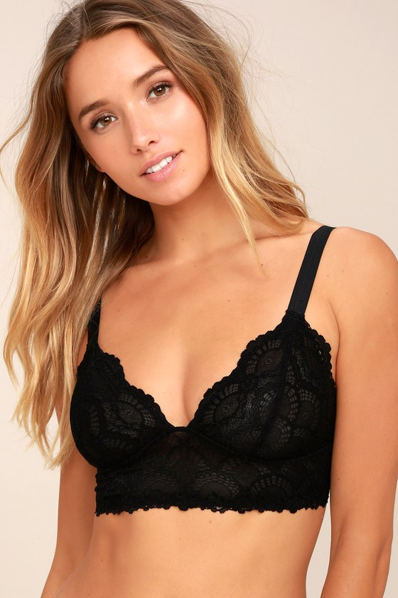 Free People Let Me Kiss You Black Lace Bralette 1