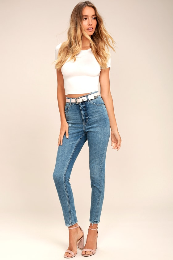 Cheap Monday Donna Medium Wash High-Waisted Distressed Jeans 1