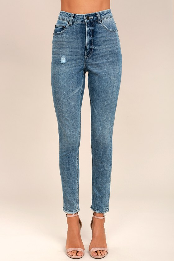 designer fashion custom save off Cheap Monday Donna Medium Wash High-Waisted Distressed Jeans