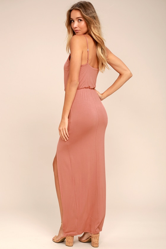 Cute Rusty Rose Dress - Maxi Dress - Sleeveless Maxi