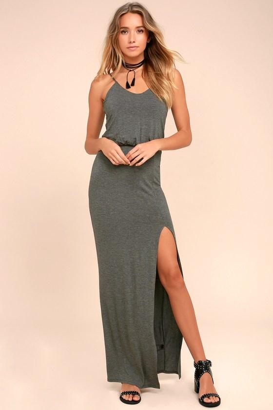Watch the Sunset Dark Grey Maxi Dress 1