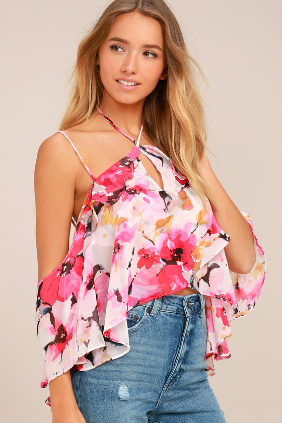ff3eb67dd50 Pretty Petals Pink Floral Print Off-the-Shoulder Top