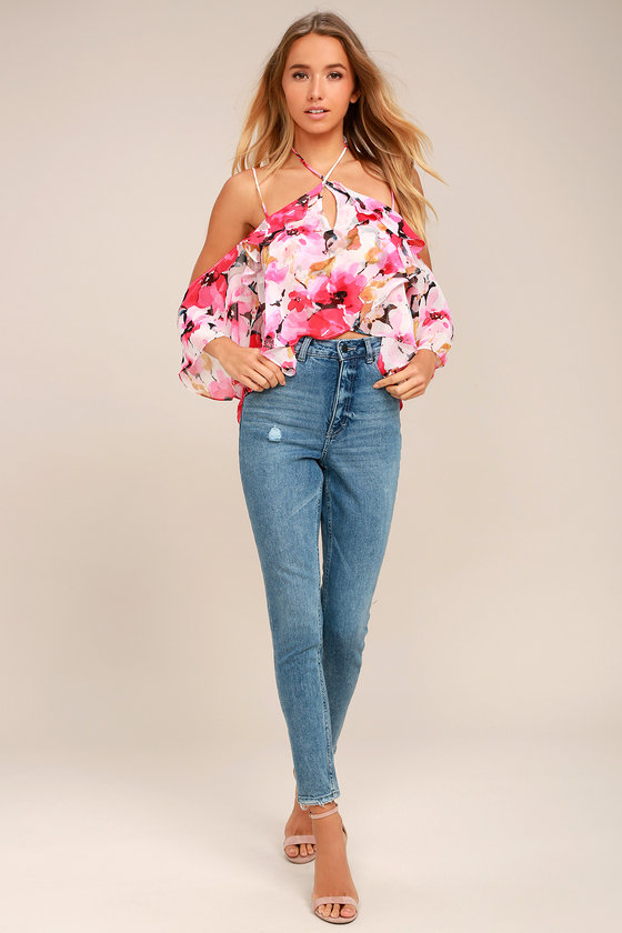 cb56f2252dae1a Lovely Pink Floral Print Top - Off-the-Shoulder Top - Halter Top ...
