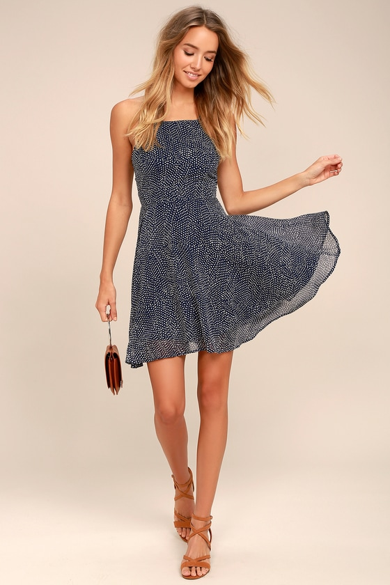 Happy Together Navy Blue Polka Dot Lace-Up Dress 1