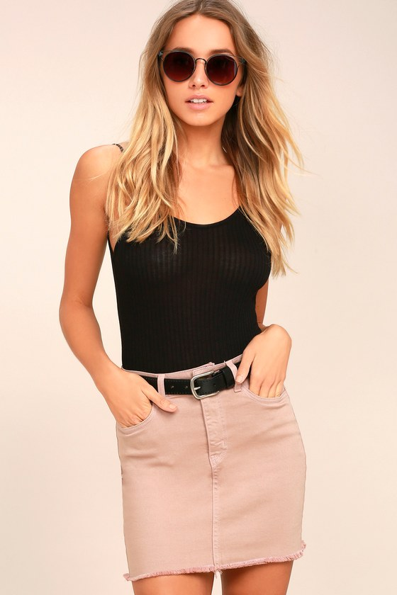 Pop and Lock Light Brown Denim Mini Skirt 2