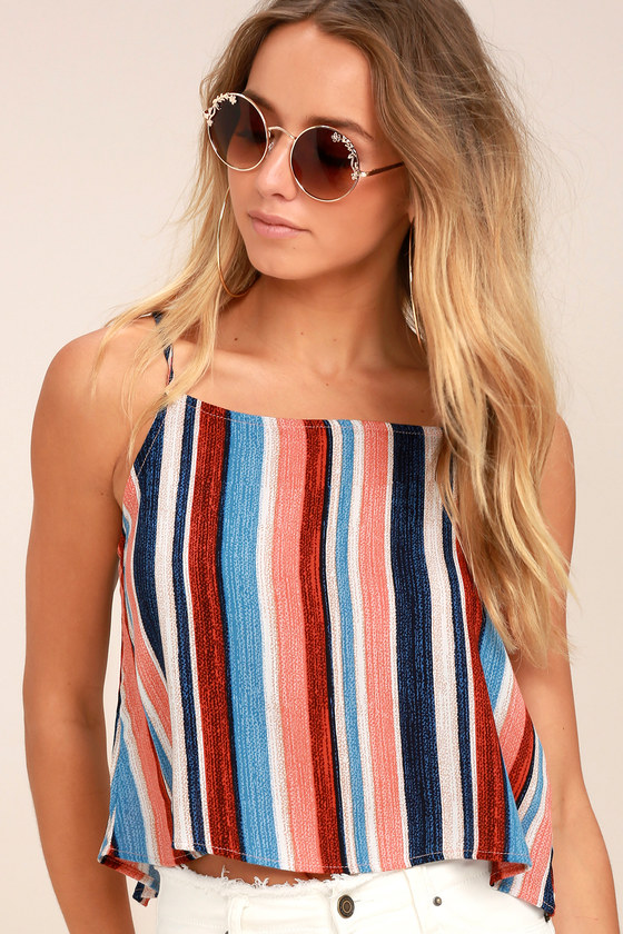 13ad705cf722b9 Cute Peach Top - Striped Top - Crop Top - Open Back Top