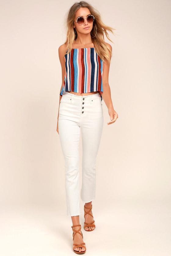 a3c8f50362a1 Cute Peach Top - Striped Top - Crop Top - Open Back Top