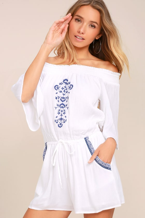 Olive & Oak Agata White Embroidered Off-the-Shoulder Romper 2
