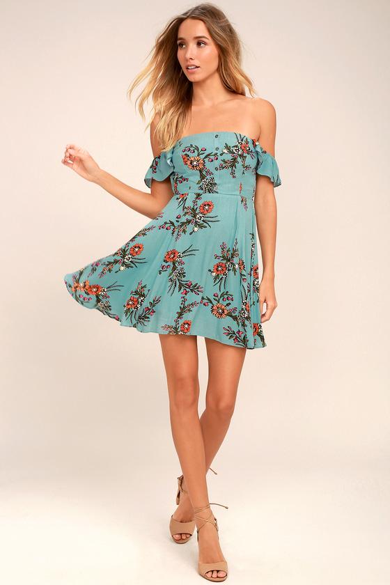 LULUS Sweetest Romance Cream Floral Print Ruffled Skater Dress Size L NEW