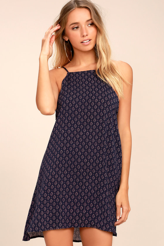 Abracadabra Navy Blue Print Shift Dress 1