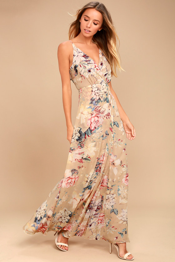 845a1098cb Lovely Beige Dress - Floral Print Dress - Maxi Dress