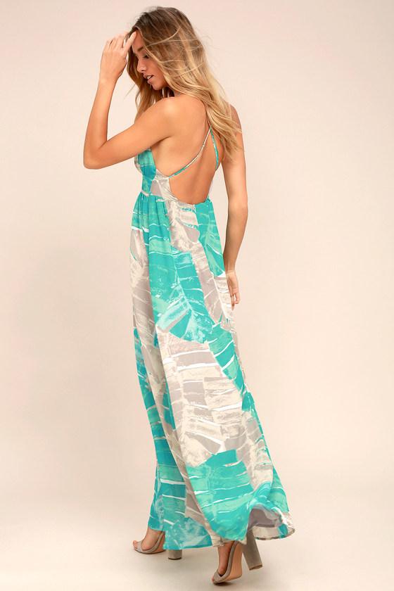 eb551b8132c Lovely Turquoise Print Dress - Backless Dress - Maxi Dress