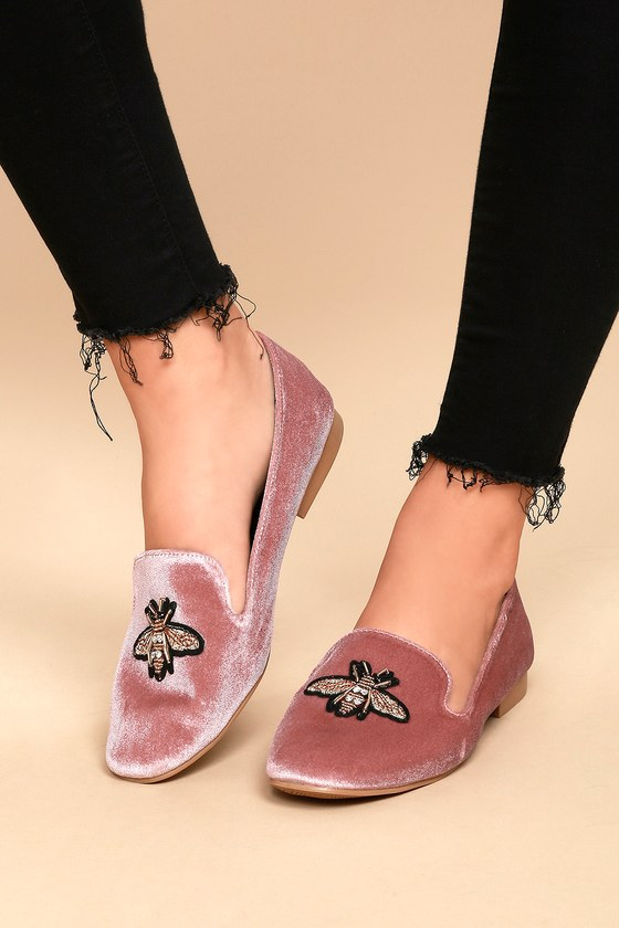 70bebab1a24 Cute Blush Loafers - Bee Loafers - Blush Velvet Loafers