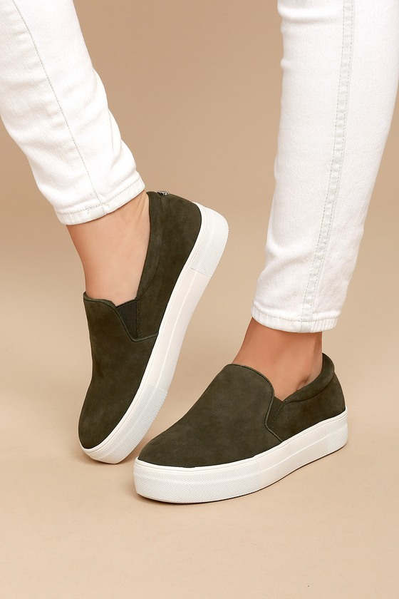 5e5a3d1ac34 Steve Madden Gills Sneakers - Olive Suede Sneakers - Leather ...