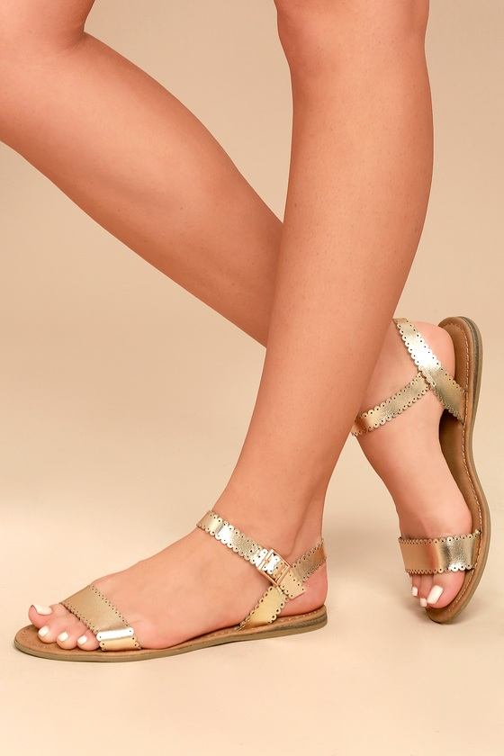 Sasha Gold Flat Sandals 4