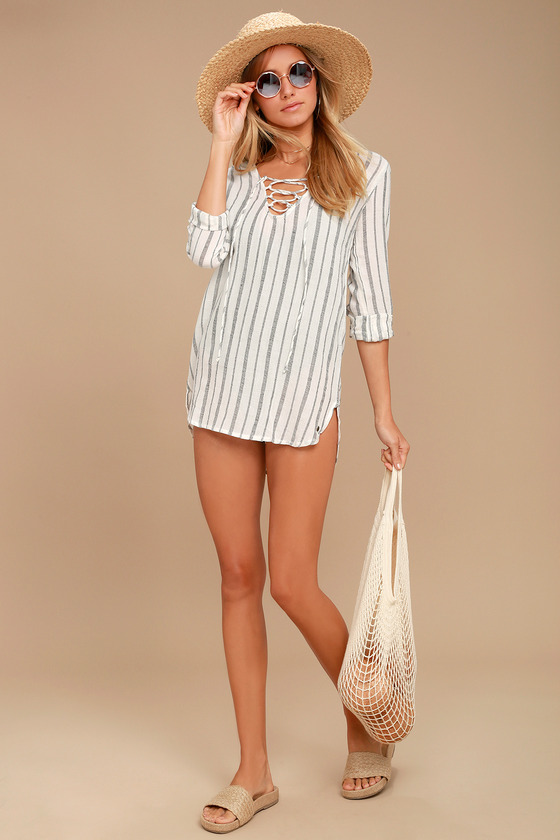 0dc94da812792 Billabong Same Story Swim Cover-Up - Hooded Cover-Up - Lace-Up Cover-Up