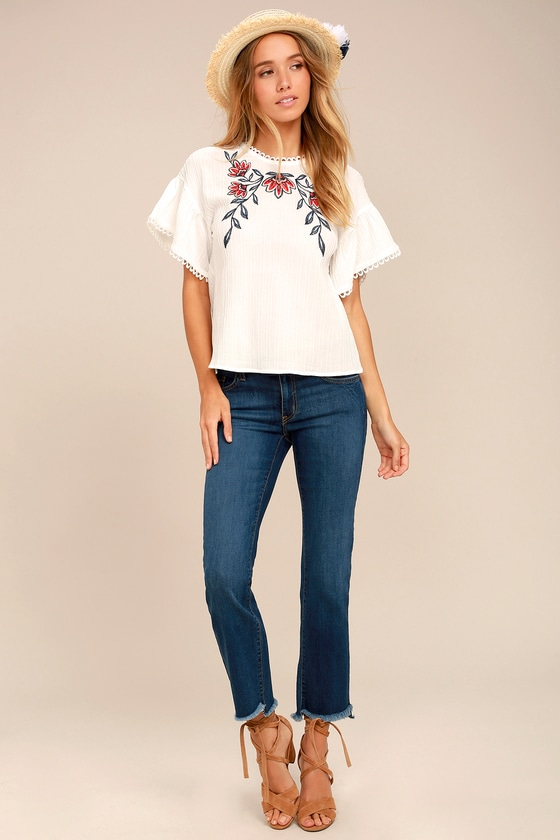 0d578408e7d Moon River Top - White Embroidered Top - Blouse