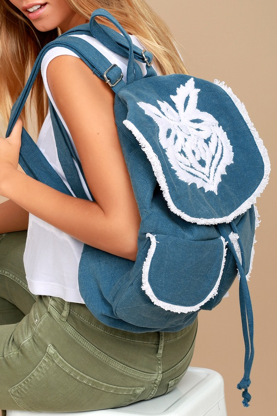 Next Adventure Denim Blue Embroidered Backpack 1