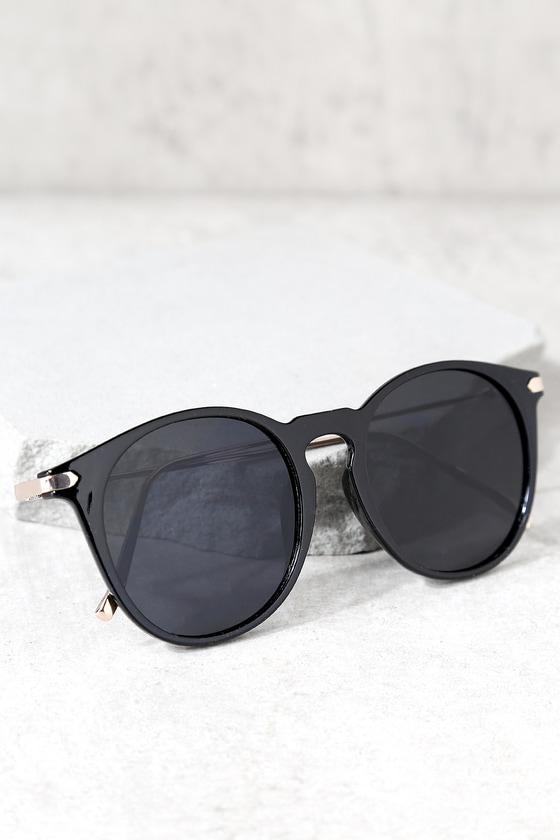 596c65132562 Cute Black Sunglasses - Black Round Sunglasses - Trendy Sunglasses