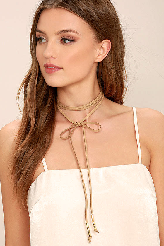 Alchemy Gold and Taupe Layered Choker Necklace 3