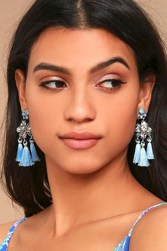 Brilliant Belle Blue and Silver Tassel Earrings 2