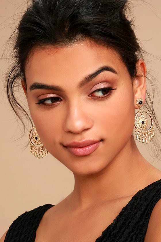 Mandala Mama Black and Gold Earrings 2