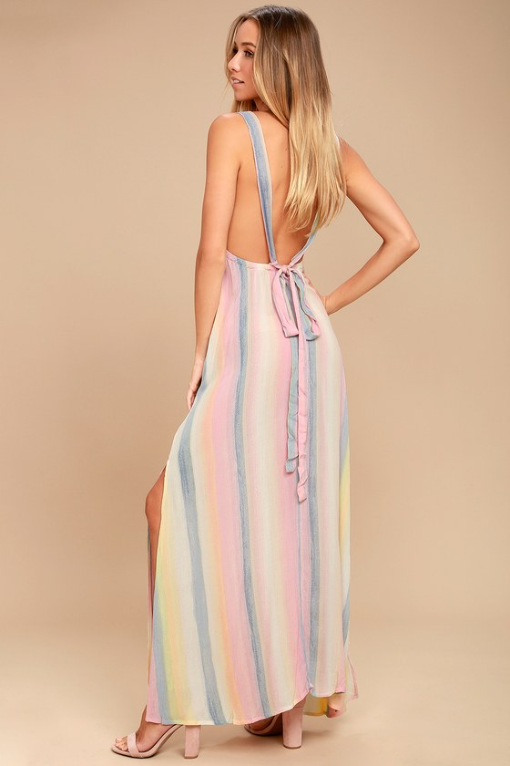 Billabong Sky High Light Pink Striped Maxi Dress 2