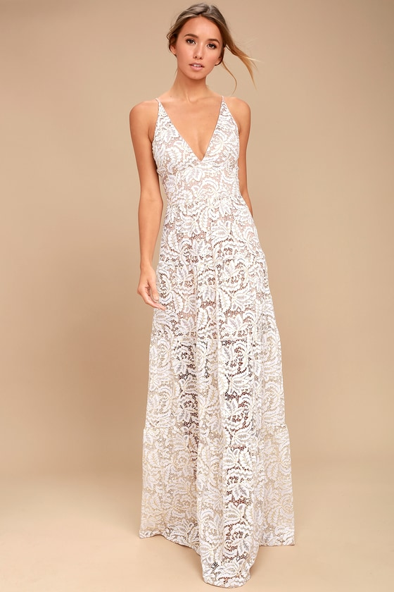 Dress the Population Melina - White Lace Dress - Maxi Dress