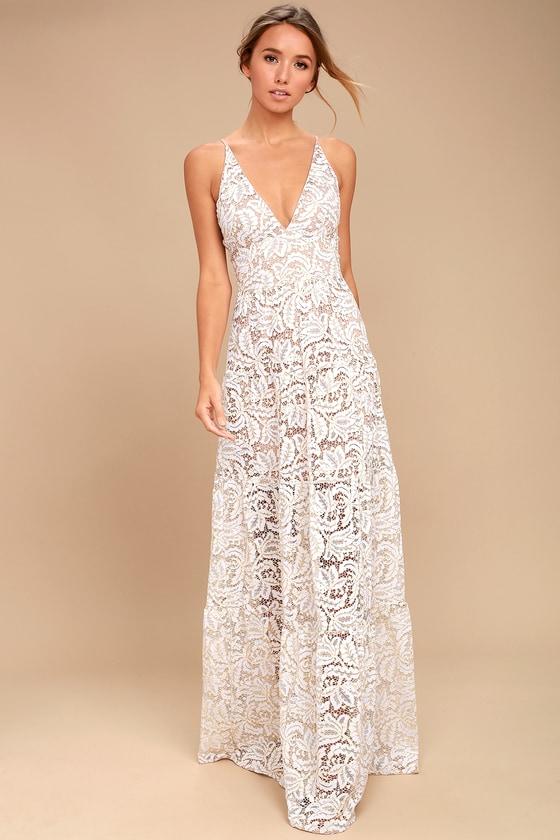 Dress the Population Melina White Lace Maxi Dress