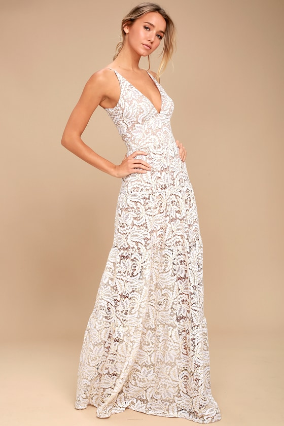 7773587c2e0d Dress the Population Melina - White Lace Dress - Maxi Dress