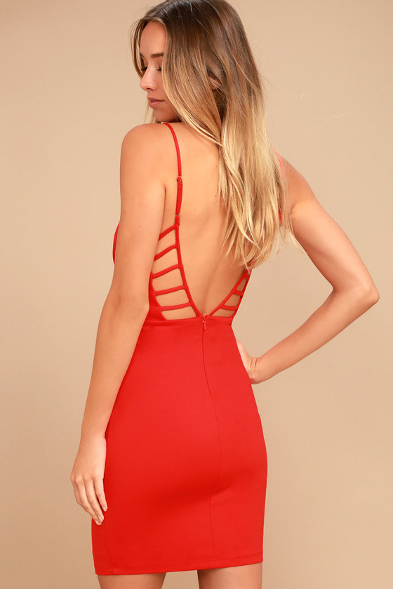 So Good Coral Red Bodycon Dress 2