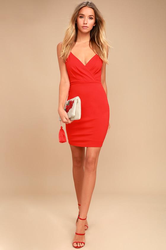 8321a12b6db Sexy Coral Red Dress - Bodycon Dress - Cutout Dress