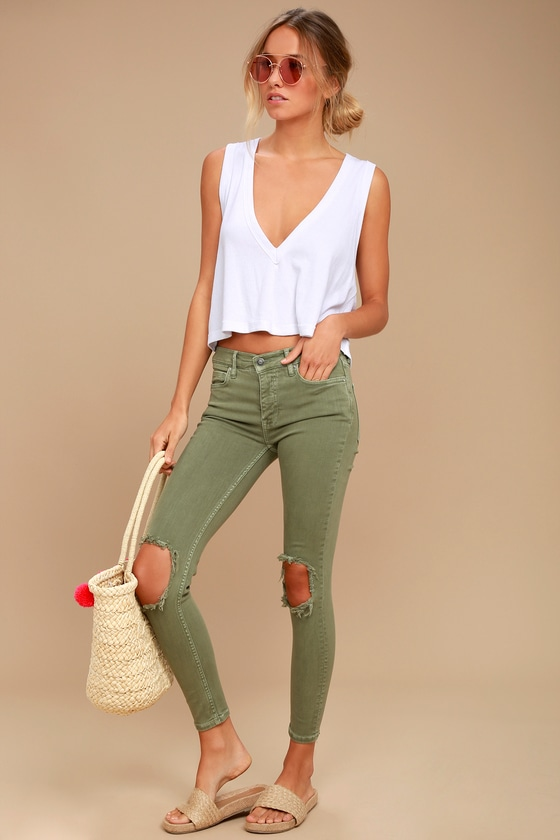 Free People High Rise Busted Olive Green Distressed Skinny Jeans 1