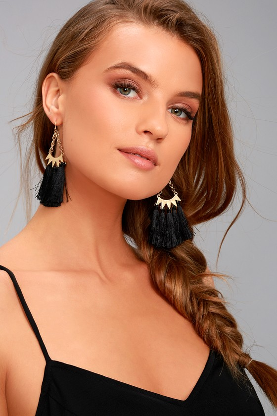 Supreme Style Gold and Black Tassel Earrings 1
