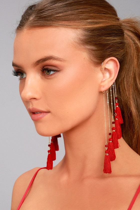 Soul of a Gypsy Gold and Red Tassel Ear Cuff 1