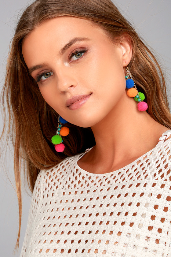 Celebrated Multi Color Pom Pom Earrings 1