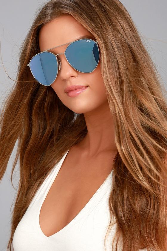 6e2110e6d6 Quay Indio Sunglasses - Blue Mirrored Sunglasses - Silver Sunglasses -   65.00