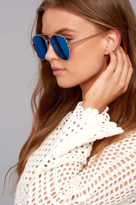 Knox Silver and Blue Mirrored Aviator Sunglasses 3