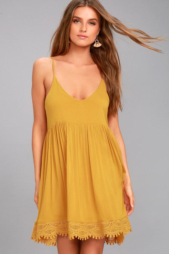 Rhiannon Mustard Yellow Lace Baby Doll Dress 2