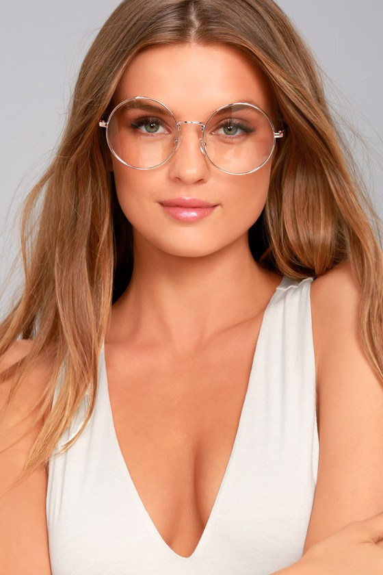 Clear And Rose Gold Glasses Round Glasses Clear Glasses