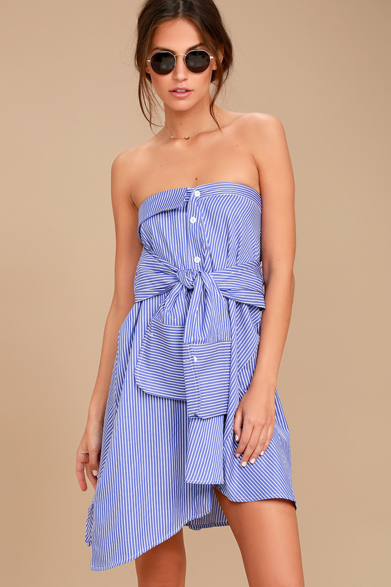 Suit and Tied Blue and White Striped Strapless Shirt Dress