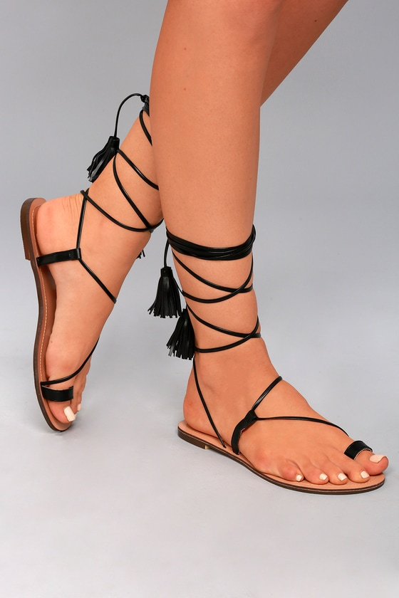Veronica Black Lace-Up Flat Sandals 4