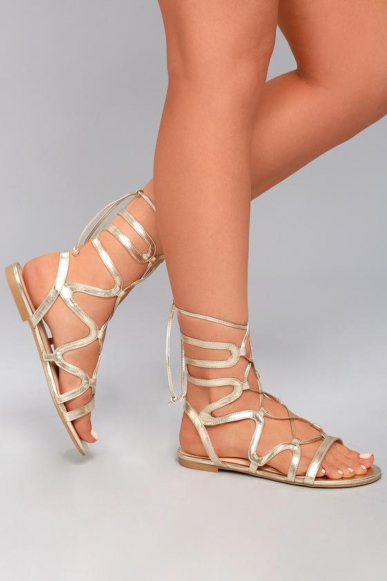 60608cba888 Steve Madden Werkit Gold Suede Sandals Leg Wrap Sandals 5900