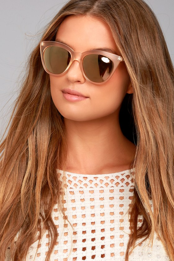 Le Specs Halfmoon Magic Peach and Yellow Mirrored Sunglasses 1